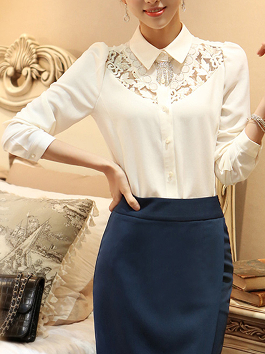 Turn Down Collar  Hollow Out Plain Blouse