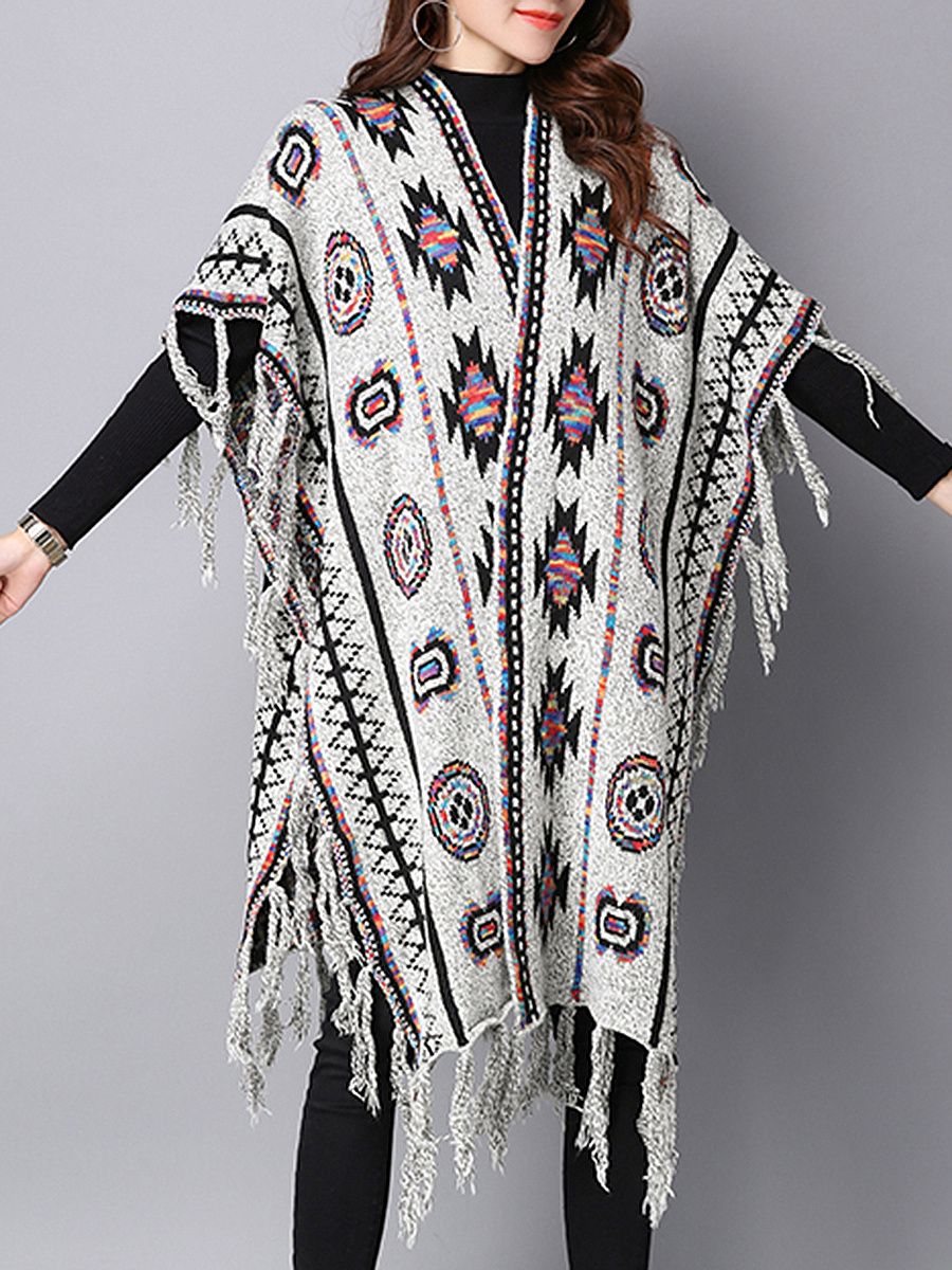 V-Neck Fringe Tribal Brocade Long Cape