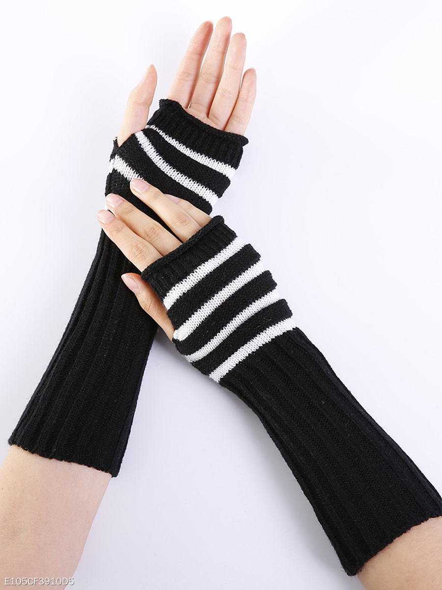 Striped Knitted Warm Fingerless Gloves