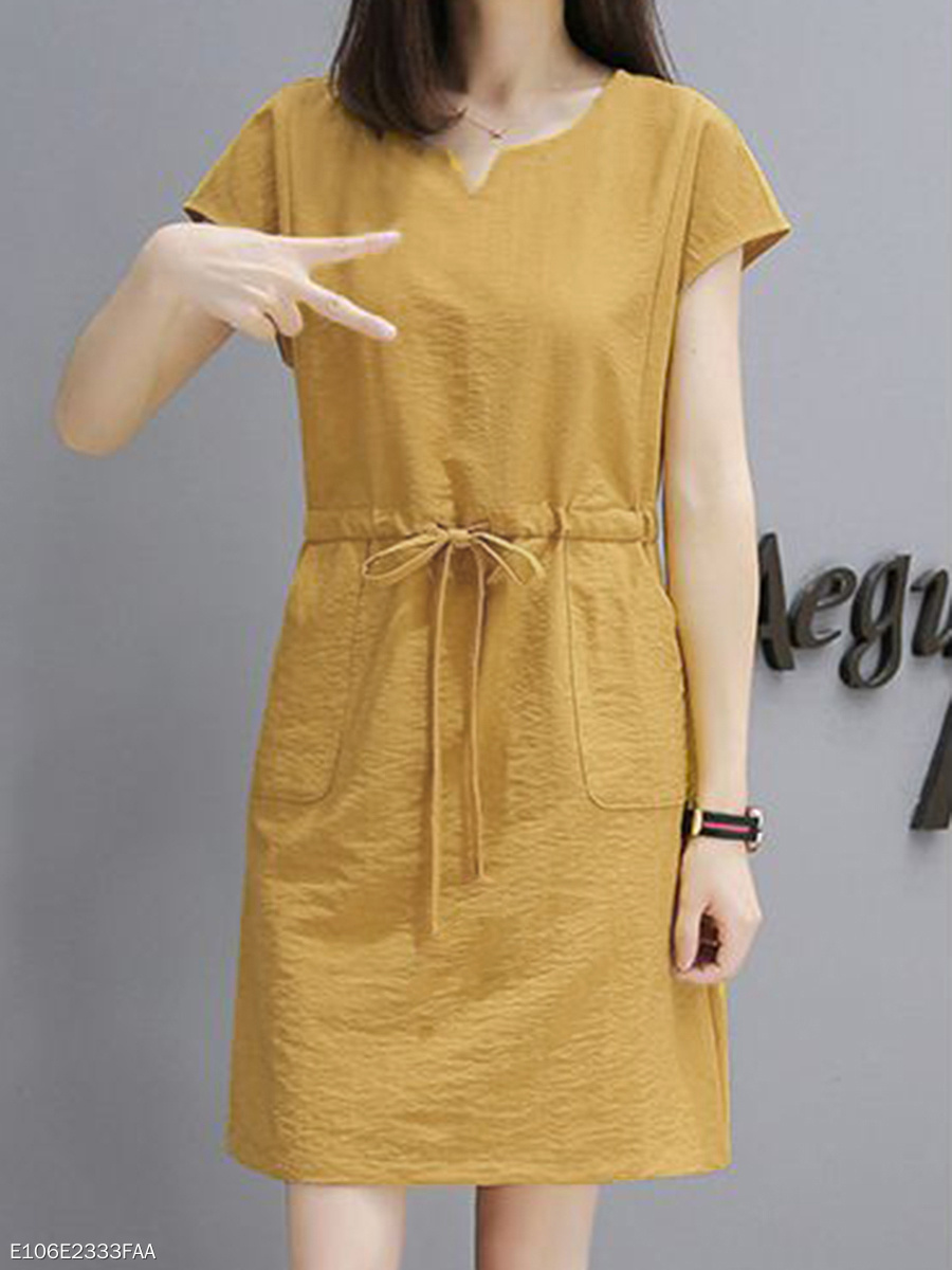 Sweet Heart  Drawstring  Plain Shift Dress