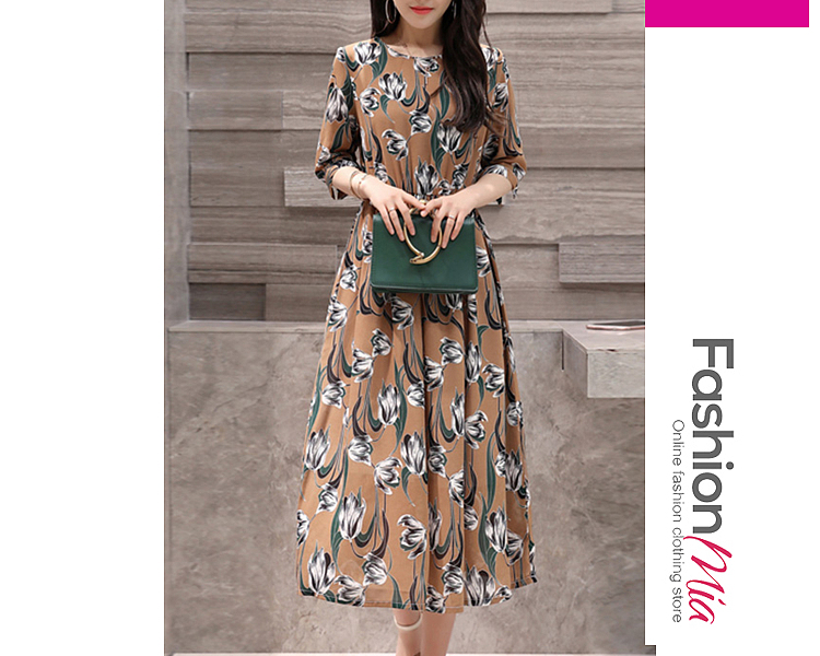 style:fashion, material:polyester, collar&neckline:round neck, sleeve:half sleeve, pattern_type:printed, length:ankle-length, how_to_wash:cold gentle machine wash, supplementary_matters:all dimensions are measured manually with a deviation of 2 to 4cm., occasion:date, season:autumn,winter, dress_silhouette:empire line, package_included:dress*1, lengthshouldersleeve lengthbust