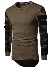 Men Camouflage Patchwork High-Low Sweatshirt