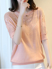 Round Neck  Hollow Out Plain  Half Sleeve Sweaters Pullover