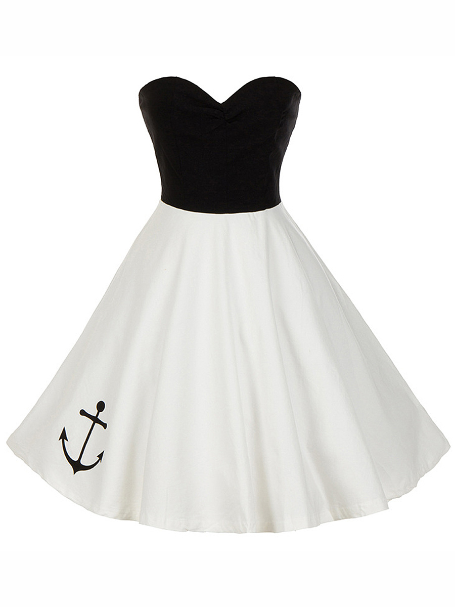 Strapless Color Block Anchor Skater Dress