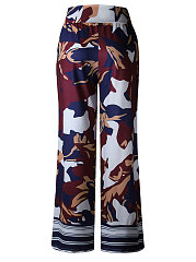 Abstract Print Bohemian  Wide-Leg  Mid-Rise Casual Pants