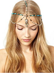 Gold Plated Pearl Gypsy Layer Head Chain