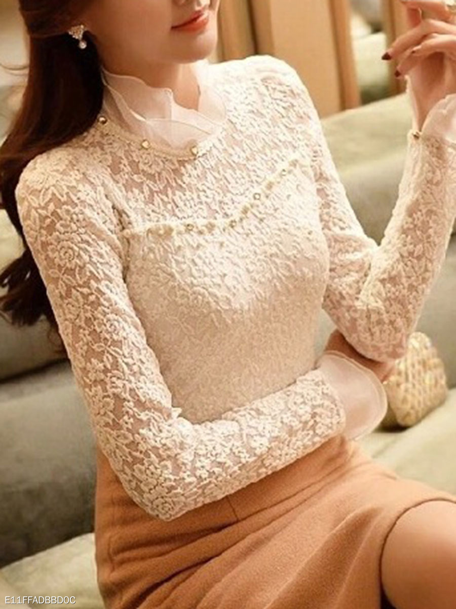 High Neck  Beading Decorative Lace  Plain Long Sleeve T-Shirts