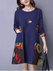 Round Neck  Patchwork  Printed  Cotton Shift Dress