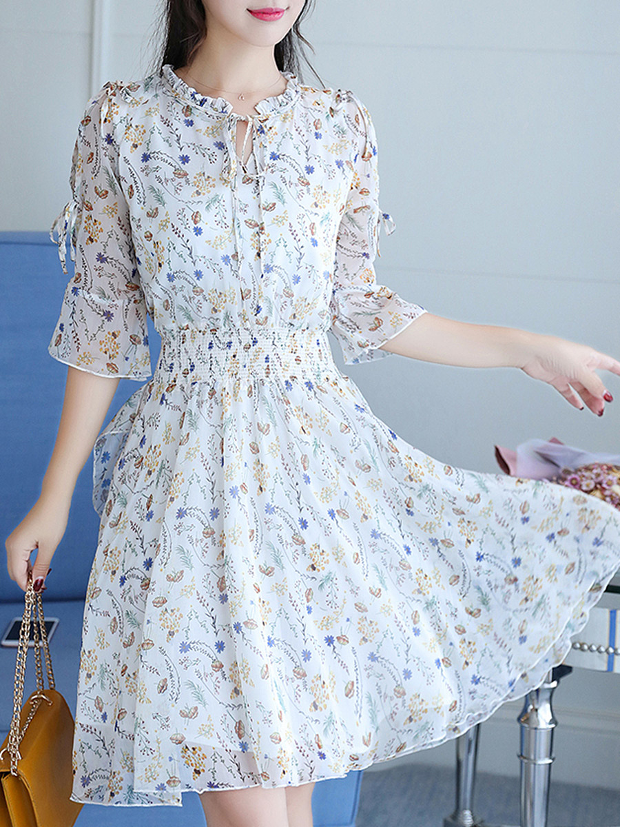 Tie Collar Printed Skater Dress With Bell Tie Sleeve
