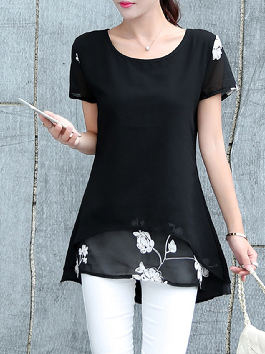 Spring Summer  Chiffon Cotton  Women  Round Neck  Asymmetric Hem Patchwork  Plain  Short Sleeve Blouses