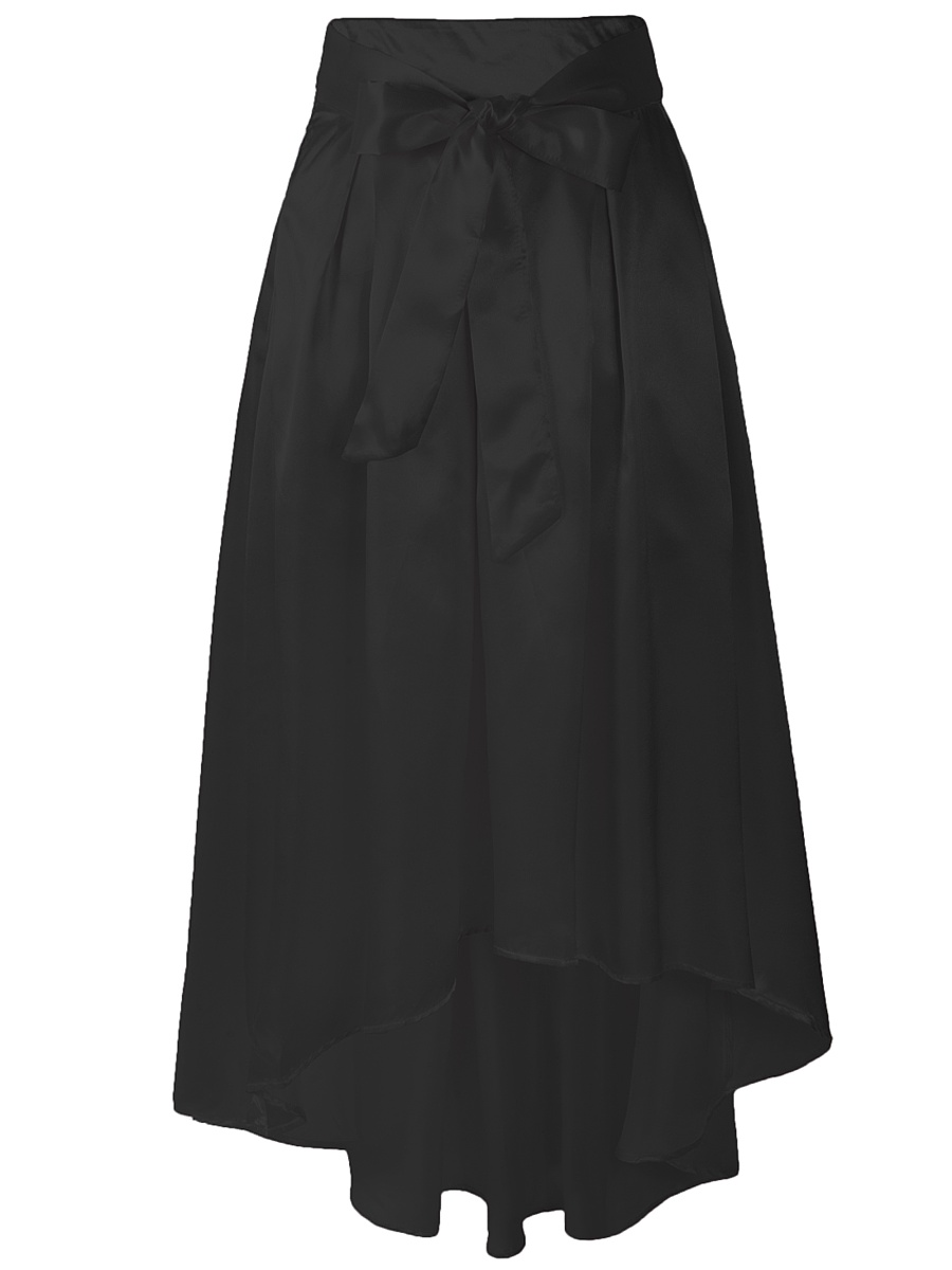 Bowknot Plain High-Low Flared Maxi Skirt