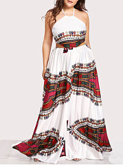 Halter  Patchwork  Abstract Print Plus Size Midi  Maxi Dresses