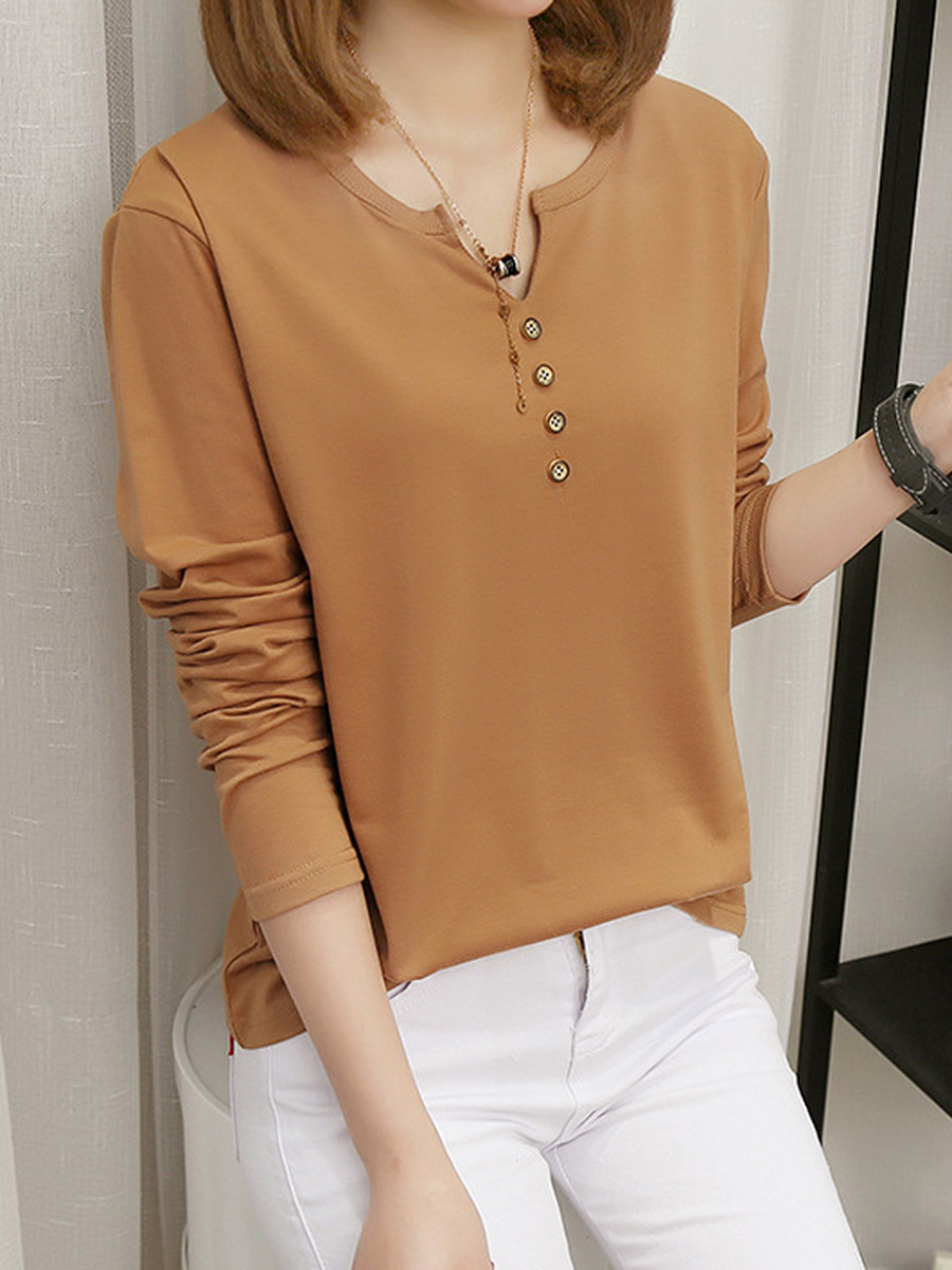 Split Neck Plain Decorative Button Long Sleeve T-Shirt