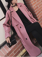 Lapel Double Breasted Pocket Belt Plain Trench Coat