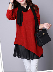 Patchwork Red Long Sleeve T Shirt