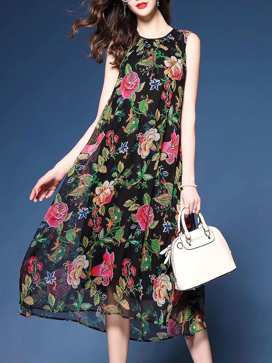 Round Neck Floral Printed Midi Skater Dress