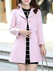 Fold-Over Collar  Single Breasted  Plain  Cuffed Sleeve Trench Coats