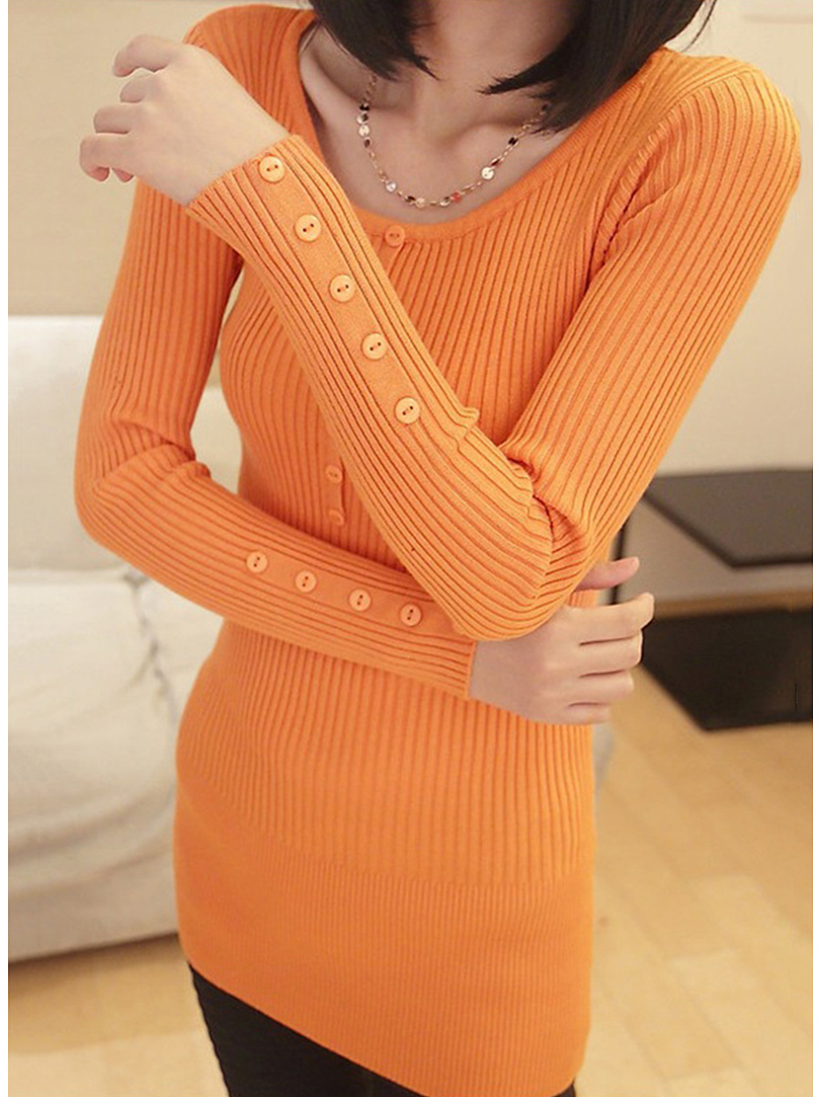 Round Neck  Decorative Button  Plain Pullover