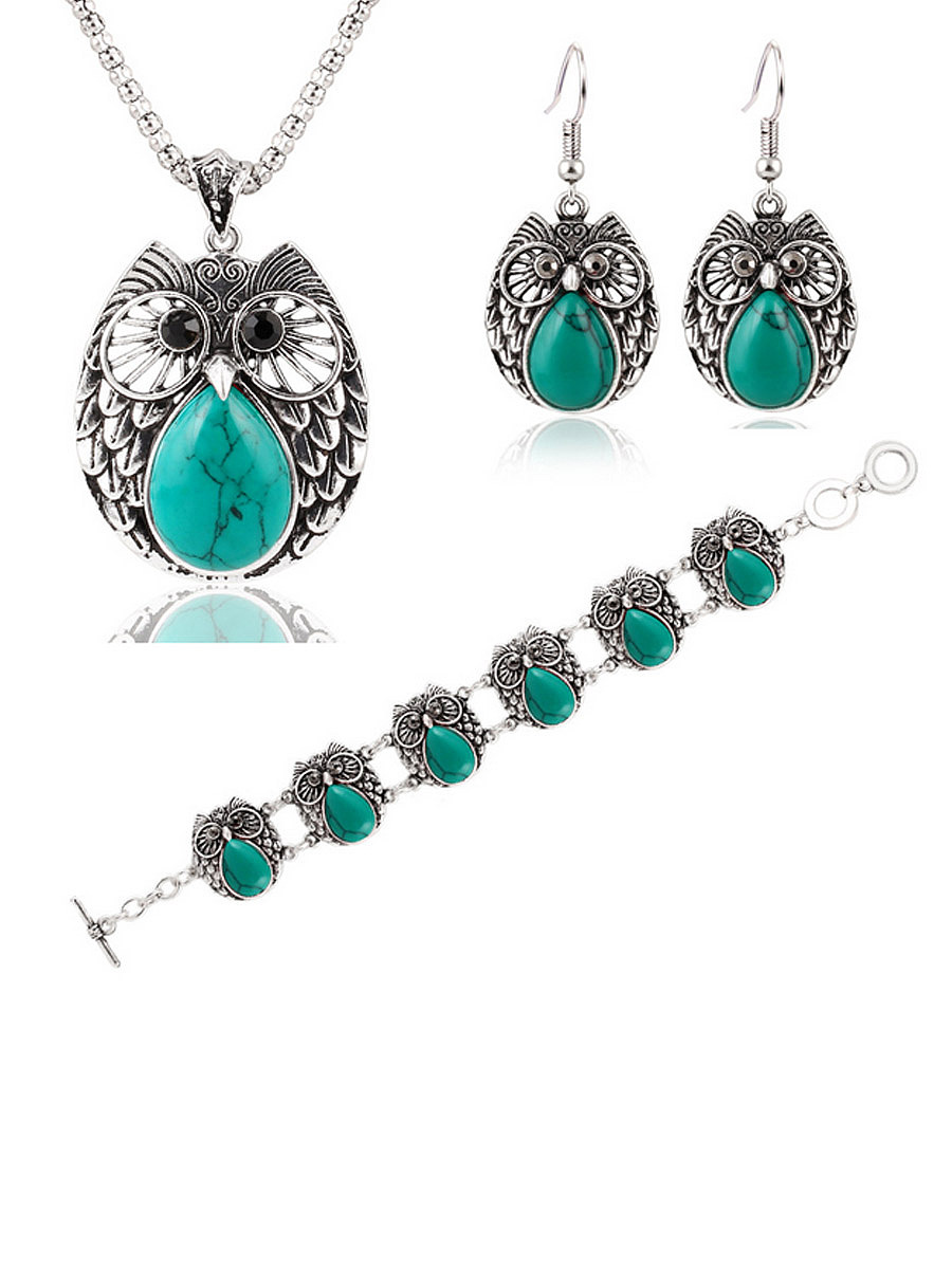 Metal Owl Turquoise Three Suit Necklace Bracelet Earring