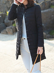 Fold Over Collar  Patch Pocket  Plain Coat