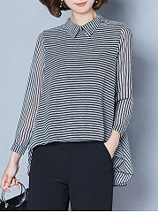 Doll Collar Striped High-Low Hollow Out Blouse