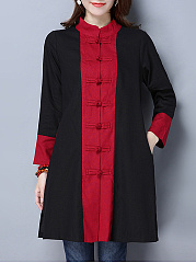 Band Collar  Color Block  Long Sleeve Trench Coats