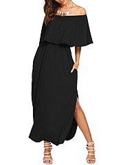 Off Shoulder  Plain Maxi Dress