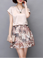 Two-Piece Round Neck  Floral Printed Two-Piece Skater Dress