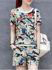 Polyester  Round Neck  Camouflage Printed Short Sleeve T-Shirts And Shorts
