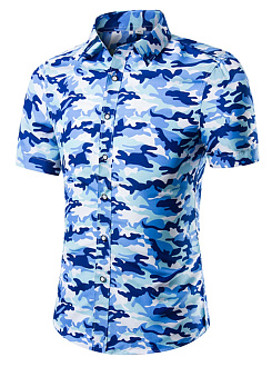 Turn Down Collar  Camouflage  Short Sleeve Short Sleeves