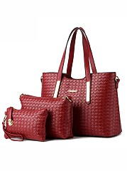 Three Pieces Plain Pu Weave Bags