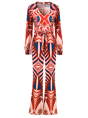Deep-V-Neck-Belt-Multi-Color-Printed-Wide-Leg-Jumpsuit
