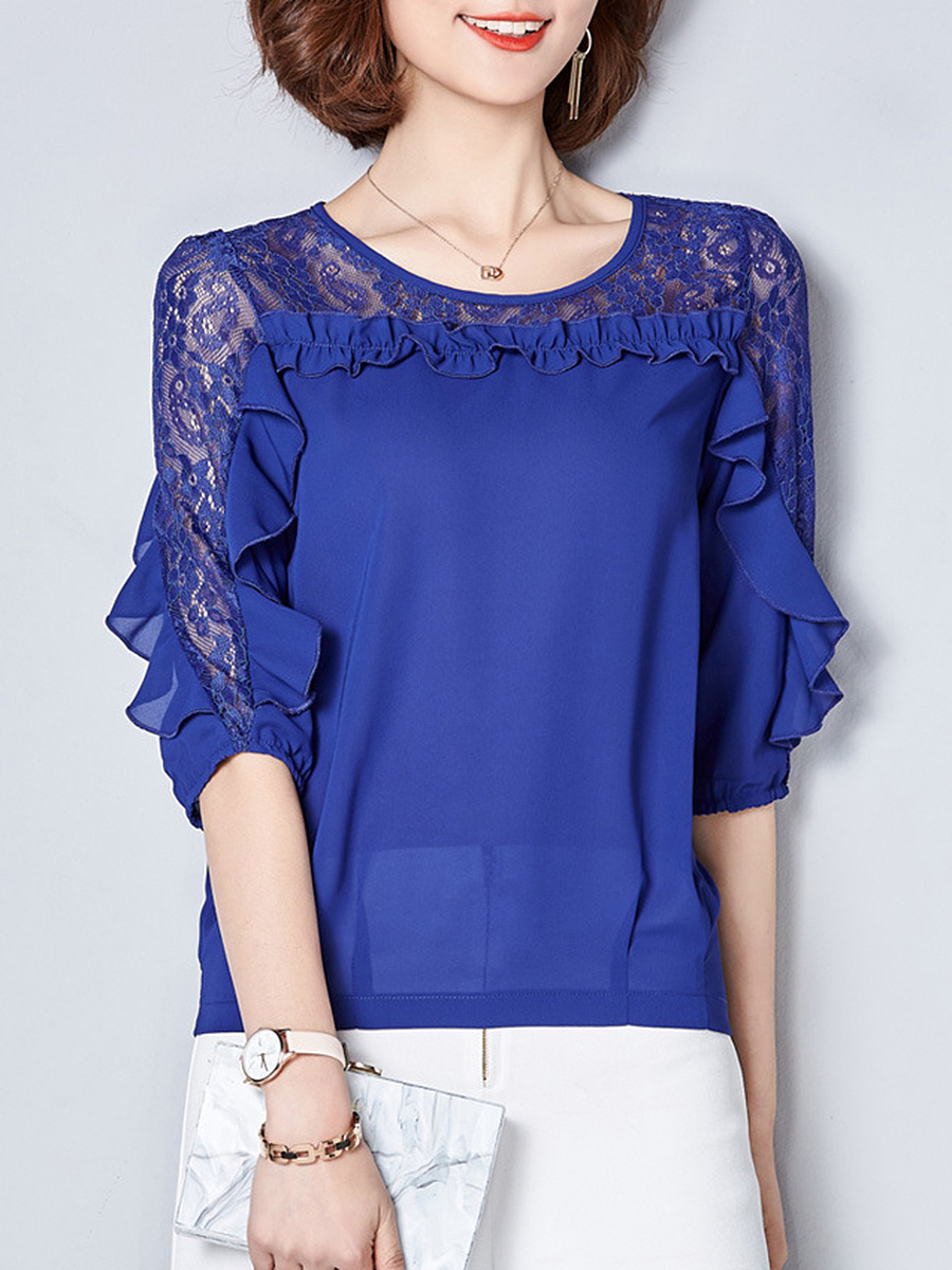 Round Neck  Ruffle Trim  Hollow Out Plain Blouse