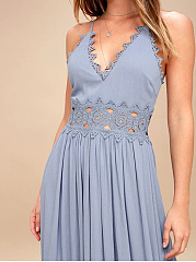 Spaghetti Strap  Decorative Lace  Plain Maxi Dress