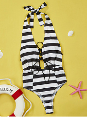 Halter Striped Lace-Up One Piece