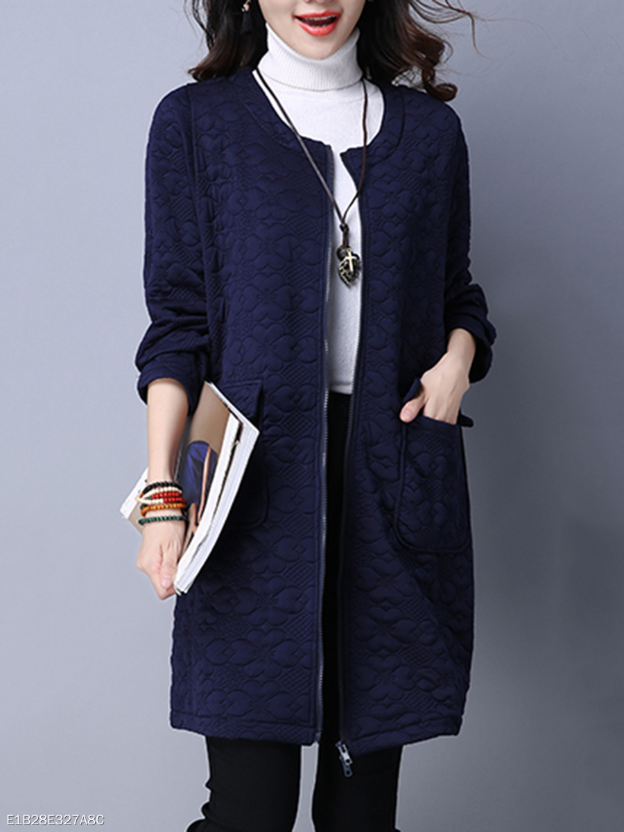 Collarless Flap Pocket Embossed Plain Longline Coat