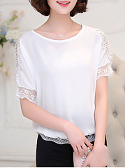 Spring Summer  Polyester  Women  Round Neck  Decorative Lace  Plain  Short Sleeve Blouses
