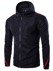 Hooded Contrast Piping Pocket Men Jacket