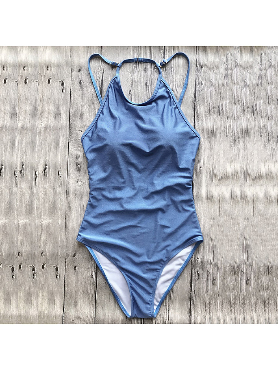 Open Back High Neck One Piece