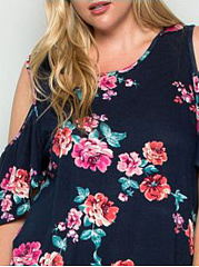 Round Neck  Floral Printed  Short Sleeve Plus Size T-Shirts