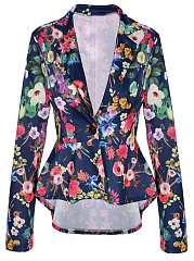 Floral Printed Peplum Notch Lapel Single Button Blazer