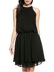 Crew Neck Elastic Waist Plain Chiffon Skater Dress