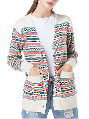 Single-Breasted-Striped-Patch-Pocket-Cardigan