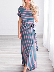 Round Neck  Belt  Printed Maxi Dress