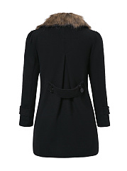 Faux Fur Collar Double Breasted Slit Pocket Woolen Coats