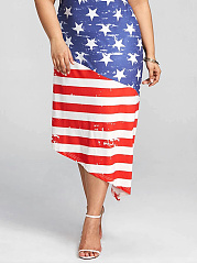 Independence Day US Flag Printed Round Neck  Plus Size Midi & Maxi Dresses