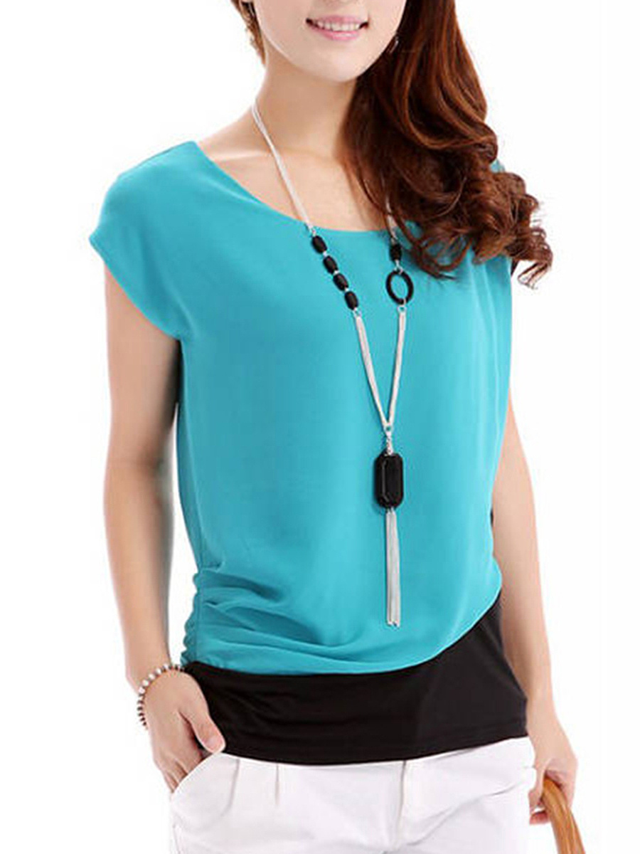 Color Block Chiffon Short Sleeve T-Shirt