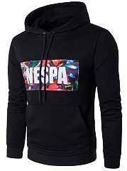 Kangaroo Pocket Multi-Color Letters Printed Men Hoodie