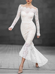 Off-Shoulder-See-Through-Plain-Lace-Mermaid-Evening-Dress