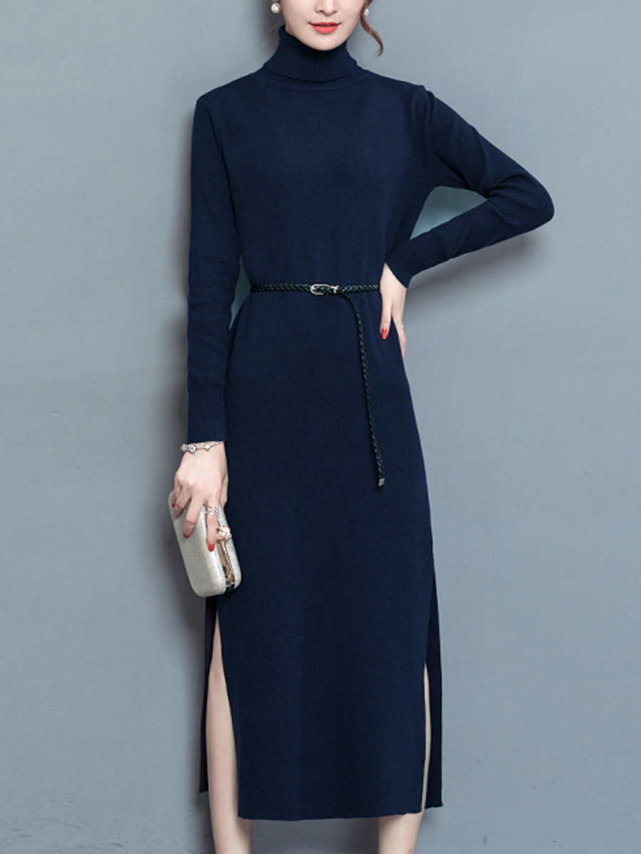 Turtleneck Maxi Dress with Slits